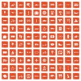 100 public transport icons set grunge orange. 100 public transport icons set in grunge style orange color isolated on white background vector illustration Royalty Free Stock Photos
