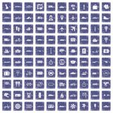 100 public transport icons set grunge sapphire. 100 public transport icons set in grunge style sapphire color isolated on white background vector illustration Royalty Free Stock Photos