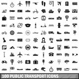 100 public transport icons set, simple style. 100 public transport icons set in simple style for any design vector illustration Stock Photography
