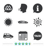 Public transport icons. Taxi speech bubble signs. Car transport symbol. Information, go to web and calendar icons. Sun and loud speak symbol. Vector Stock Photo