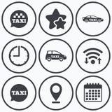 Public transport icons. Taxi speech bubble signs. Clock, wifi and stars icons. Public transport icons. Taxi speech bubble signs. Car transport symbol. Calendar Stock Photos