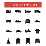 Public transport illustration, thin line icons, linear flat sign vector illustration