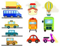 Public transport like cars ships trucks vector illustration