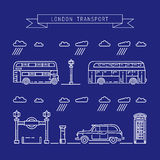 Public transport London. Vector illustration of a linear combination of public transport of the city of London, taxi, bus, subway vector illustration