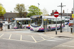 Public transport. Newcastle under lyme United Kingdom - May 5, 2014 : English  bus station, Local bus service in and around the city of  Newcastle under lyme Royalty Free Stock Photography