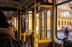Public transport in the old part of the city. inside view Stock Photography