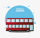 Public transport red bus two storied Stock Photo