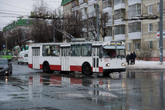 Public Transport in Russia. Yoshkar-Ola, Russia - February 25 2017 Photo ZiU-682 is a Soviet Russian high-floor trolley bus of large capacity for intraurban Royalty Free Stock Images