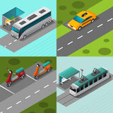 Public Transport Set. Public transport design concept set with isometric vehicles on stops  vector illustration Royalty Free Stock Photo