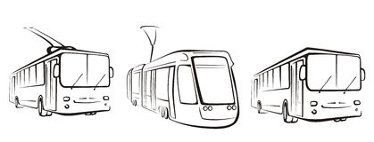 Public transport set of symbols. In simple black lines Stock Photo