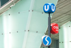 Public transport signs in Vienna, Austria Royalty Free Stock Images