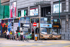 Public transport on the street: Traffic and city life in Asian international business and financial center. Hong Kong Royalty Free Stock Image