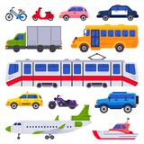Public transport. Taxi car vehicle, city train and urban transporter isolated cars vector collection royalty free illustration