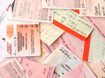 Public transport tickets. LONDON, UK - FEBRUARY 6, 2014: Set of tickets and travel cards for public transport in European cities including London Berlin Milan Stock Photos