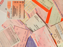 Public transport tickets. LONDON, UK - FEBRUARY 6, 2014: Set of tickets and travel cards for public transport in European cities including London Berlin Milan Royalty Free Stock Photo
