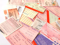 Public transport tickets. LONDON, UK - FEBRUARY 6, 2014: Set of tickets and travel cards for public transport in European cities including London Berlin Milan Royalty Free Stock Image