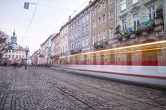 Public transport train downtown Lviv Stock Image
