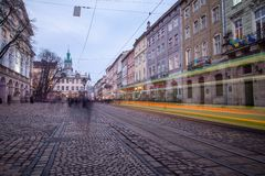 Public transport train downtown Lviv Royalty Free Stock Photos