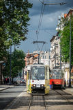 Yellow tram on the street in Bydgoszcz Royalty Free Stock Photography