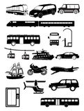 Public transport vehicles icons set Royalty Free Stock Photography