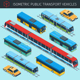 Public transport vehicles. Isometric public transport vehicles with front and rear views. city transport car icons set. 3d vector transport icon. Highly detailed Stock Image
