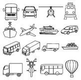 Public transport vehicles line icons set Royalty Free Stock Photography