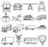 Public transport vehicles line icons set Royalty Free Stock Photography