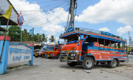 Public transport of wooden minibus or Songtaew in Ranong, Thaila Stock Photos