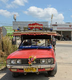 Public transport of wooden minibus in Thailand. Public transport of wooden minibus or Songtaew in Ranong, Thailand. Photo taken on February 20, 2015 Stock Photos