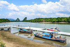 Public transportaion boat. Port at the krabi river Royalty Free Stock Image