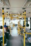 Public transportation. Blur image of interior of modern city bus.  Stock Photo