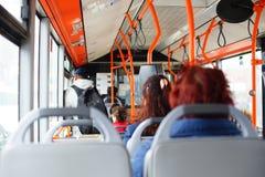 Public transportation. Public bus transportation in Bucharest, Romania Stock Image