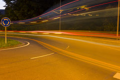 Public transportation by bus. In a roundabout Royalty Free Stock Image