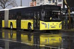 Public transportation bus is waiting for passengers at The Istanbul Kadikoy. Istanbul, Turkey - March 3, 2018 : A public transportation bus is waiting for stock photography
