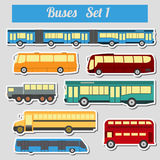 Public transportation, buses. Icon set. Royalty Free Stock Image