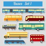 Public transportation, buses. Icon set. Vector illustration Royalty Free Stock Image