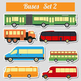Public transportation, buses. Icon set. Stock Photo