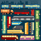 Public transportation, buses. Set elements infographics Royalty Free Stock Images