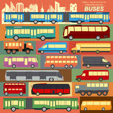 Public transportation, buses. Set elements infographics Royalty Free Stock Image
