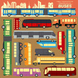 Public transportation, buses. Set elements infographics Stock Photography