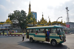 Public transportation in downtown Yangon, Myanmar Stock Images
