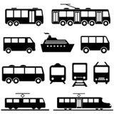 Public transportation icon set. Bus, ship, train public transportation icon set Stock Image