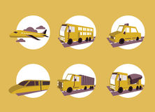 Public transportation icon set. Stock Photos
