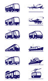 Public transportation icon set Stock Images