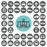 Public transportation icons set. Stock Photos