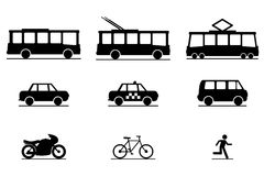 Public Transportation Icons Royalty Free Stock Photography