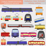 Public transportation infographics. Tram, trolleybus; subway Stock Photos