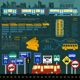 Public transportation ingographics. Buses Stock Photography