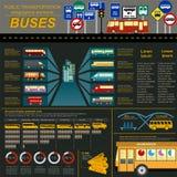 Public transportation ingographics. Buses Royalty Free Stock Photos