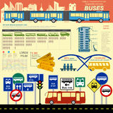 Public transportation ingographics. Buses Royalty Free Stock Photography